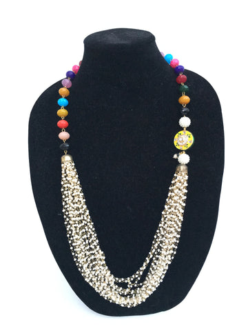 Rajasthani pedant and bead Necklace - Multi Color - 2