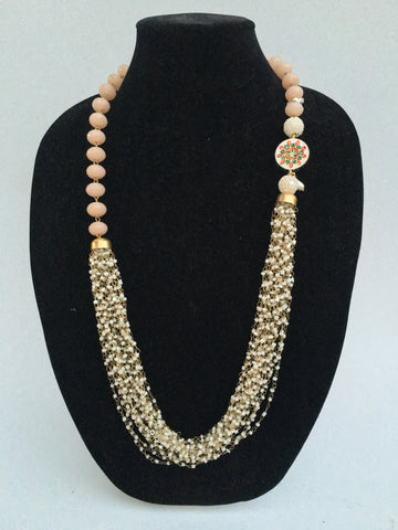 Rajasthani pedant and bead Necklace - Peach - 1
