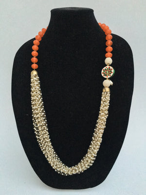 Rajasthani pedant and bead Necklace - Orange - 1
