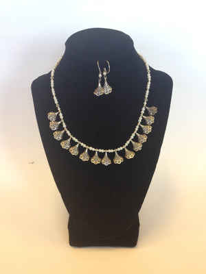 German Jewelry, Oxidized Indian Necklace - Silver & White - Sarang