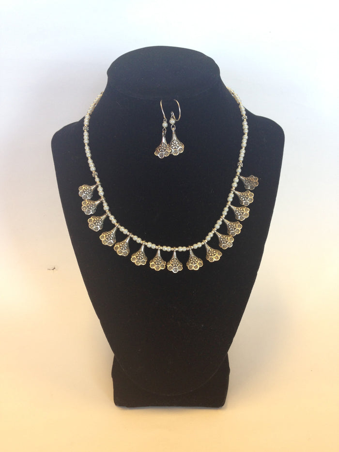German Jewelry, Oxidized Indian Necklace - Silver & White