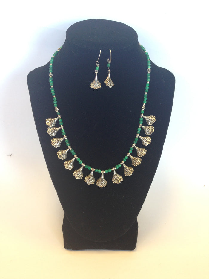 German Jewelry, Oxidized Indian Necklace - Silver & Green