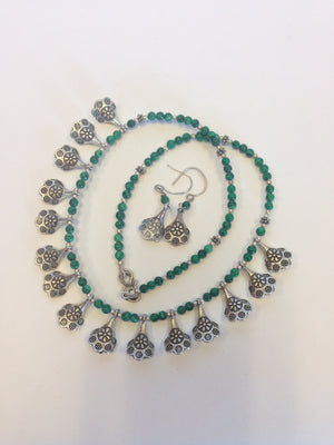 German Jewelry, Oxidized Indian Necklace - Silver & Green - Sarang