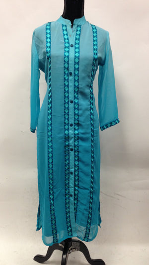 Georgette Long Kurta - Blue - Sarang