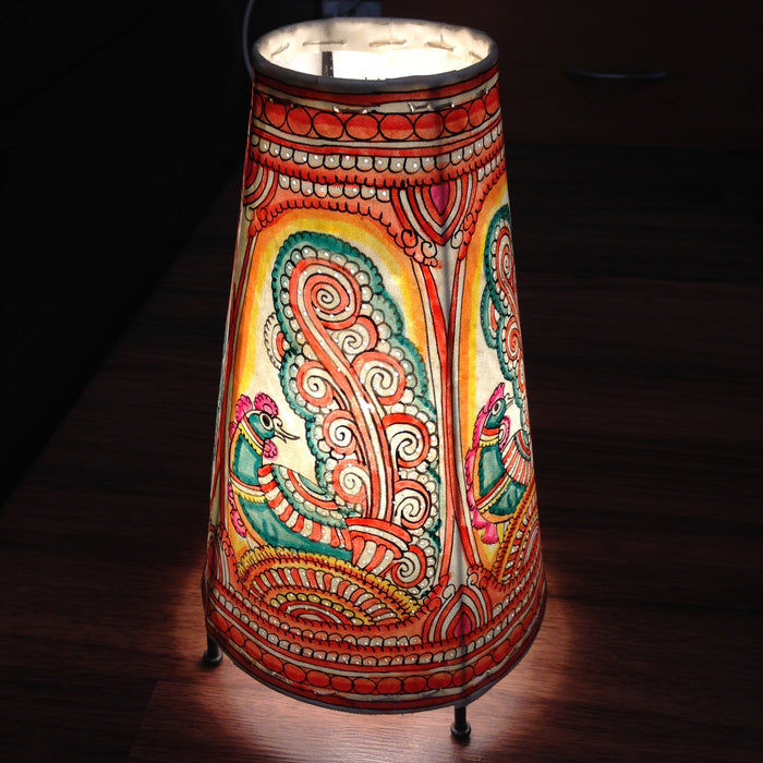Hand Painted Small Peacock Leather Lampshade