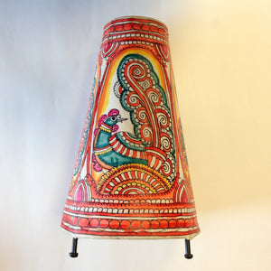 Hand Painted Small Peacock Leather Lampshade - 2