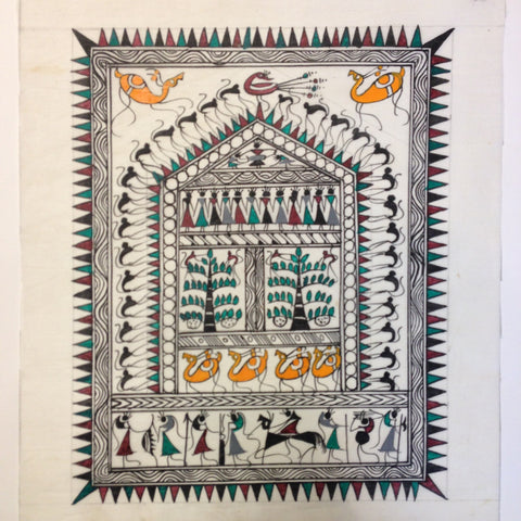 Frameable Warli Art Painting On Silk - 1
