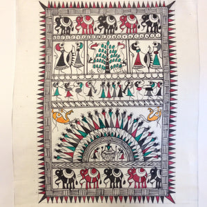 Frameable Warli Art Painting On Silk - 3