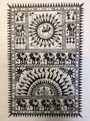 Frameable Warli Art Painting On Silk - 4