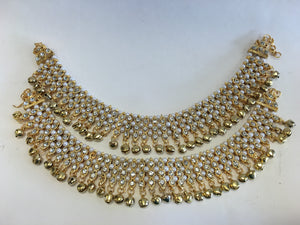 bollywood style traditional stone and pearl anklets with ghungroos - Sarang