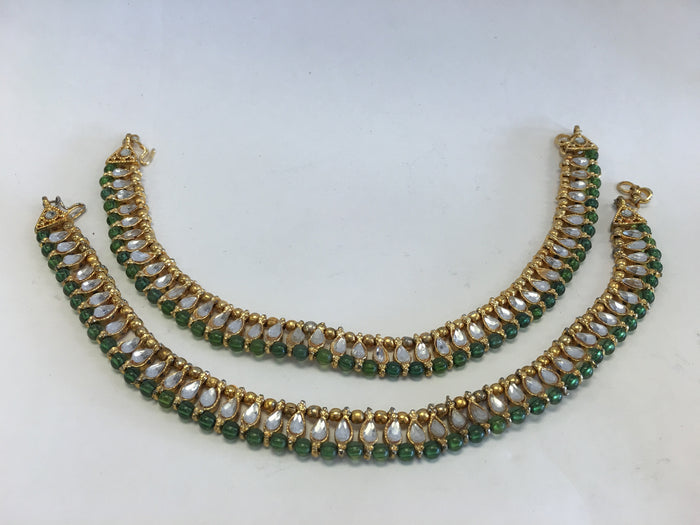 Gold Tone /Plated Anklet / Payal With White & Green Stone