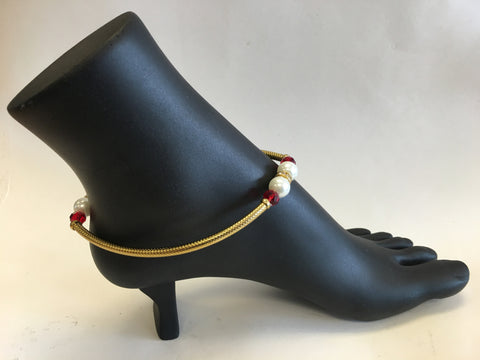Modern Design Golden Anklet / Payal - Sarang
