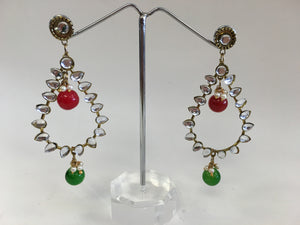 Red & Green Stones Studded Earrings - 1