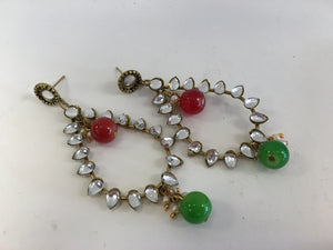 Red & Green Stones Studded Earrings - 2