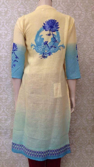 Linen Embroidered Kurta - Sarang
