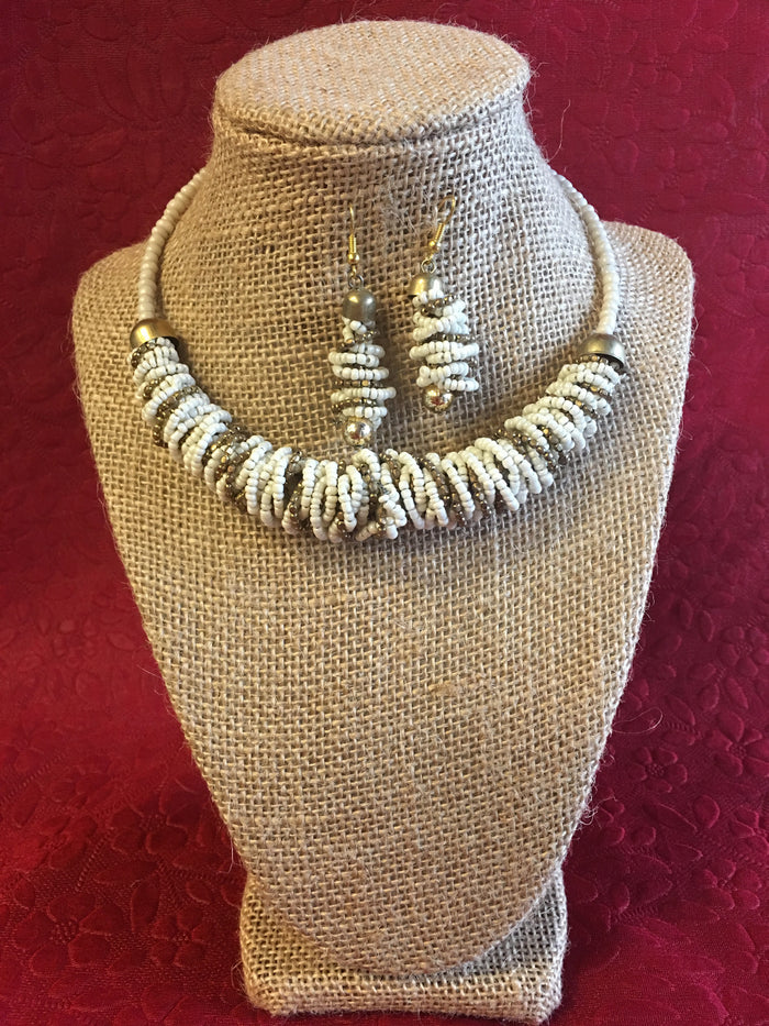 Handmade Beaded Long Necklace Set - White & Golden