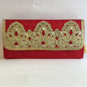 Silk Embroidery Clutches - Red, Green, Orange, Maroon, Blue, Gold, Black - 2