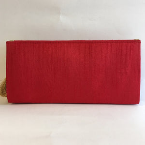 Silk Embroidery Clutches - Red, Green, Orange, Maroon, Blue, Gold, Black - 4