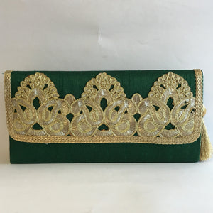 Silk Embroidery Clutches - Red, Green, Orange, Maroon, Blue, Gold, Black - 3