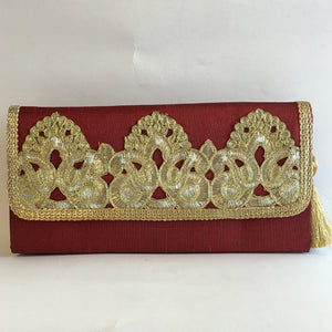 Silk Embroidery Clutches - Red, Green, Orange, Maroon, Blue, Gold, Black - 9