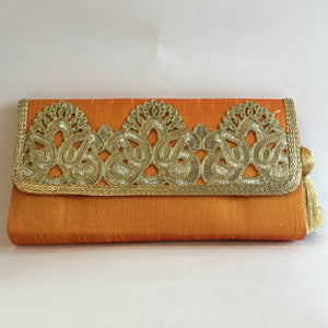 Silk Embroidery Clutches - Red, Green, Orange, Maroon, Blue, Gold, Black - 5