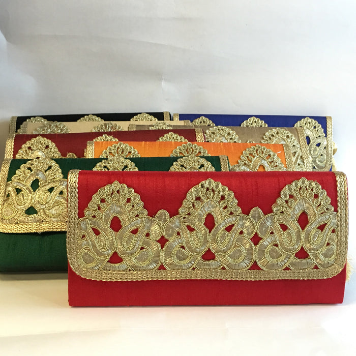 BD-Silk Embroidery Clutches - Red, Green, Orange, Maroon, Blue, Gold, Black