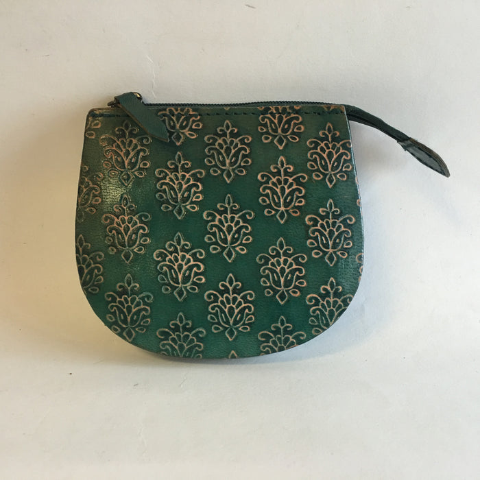 BD-Embossed Leather coin Pouch