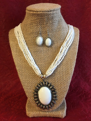 Beaded Long Necklace Set - 2