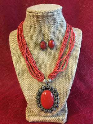 Beaded Long Necklace Set - 4