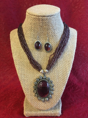 Beaded Long Necklace Set - 7