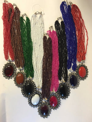 Beaded Long Necklace Set - 1