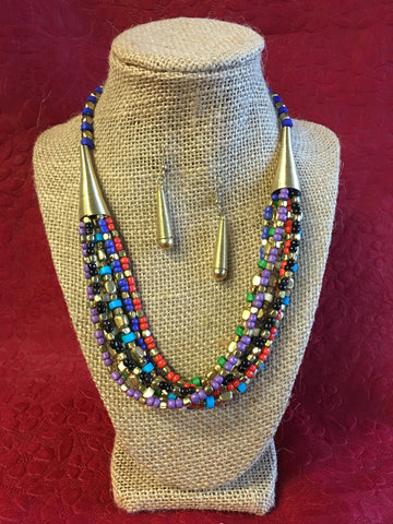 Handmade Beaded Long Necklace Set - Multi Color - 1