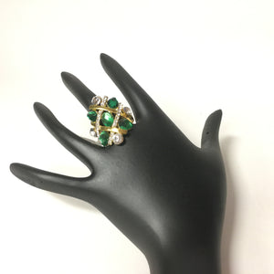 Beautiful Diamond Ring, Indian Ring - Green - Sarang