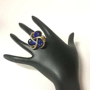 Beautiful Indian Diamond Ring - Blue - Sarang