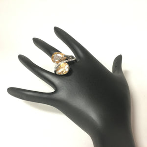 Silver Finish Ring with Chocolate Stones - Sarang