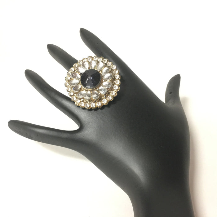 Black Gold Tone Kundan Adjustable Finger Ring