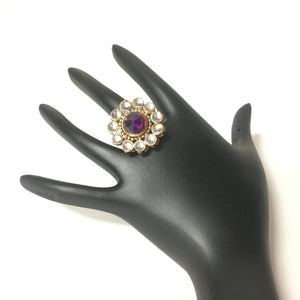 Gold Finish Purple Kundan Stone Ring - Sarang