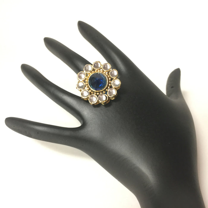Gold Finish Blue Kundan Stone Ring