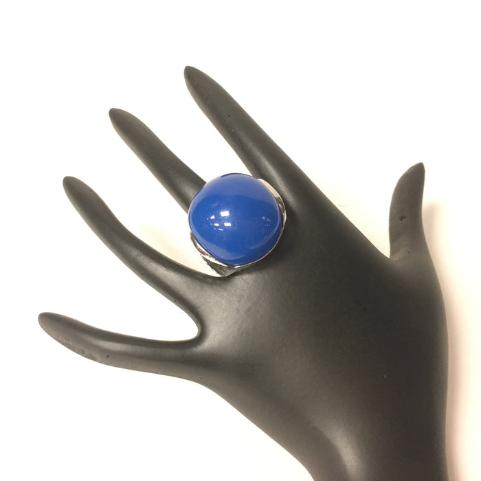 Urgen Style Blue Stone Silver Finish Ring