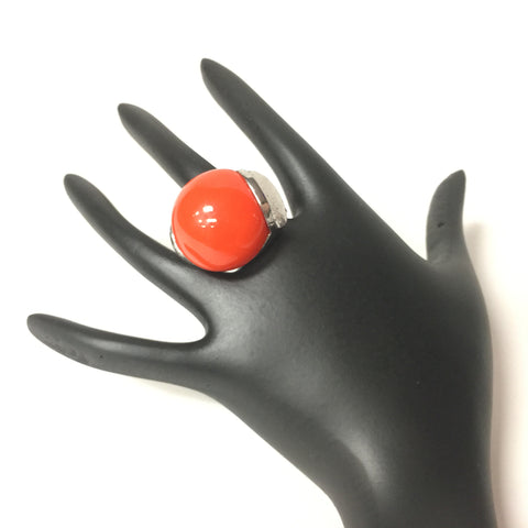 Urgen Style Red-Orange Stone Silver Finish Ring - Sarang