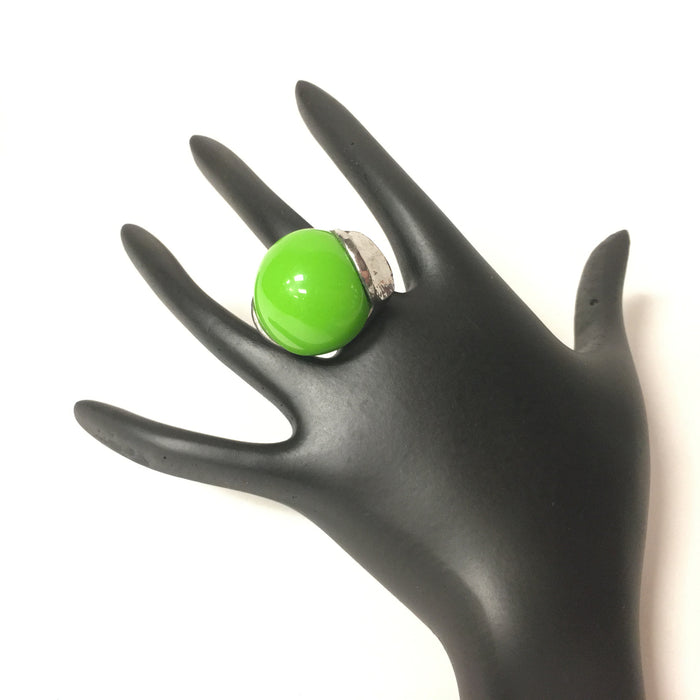 Urban Style Green Stone Ring in Silver Finish