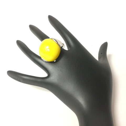 Urgen Style Yellow Stone Silver Finish Ring - Sarang