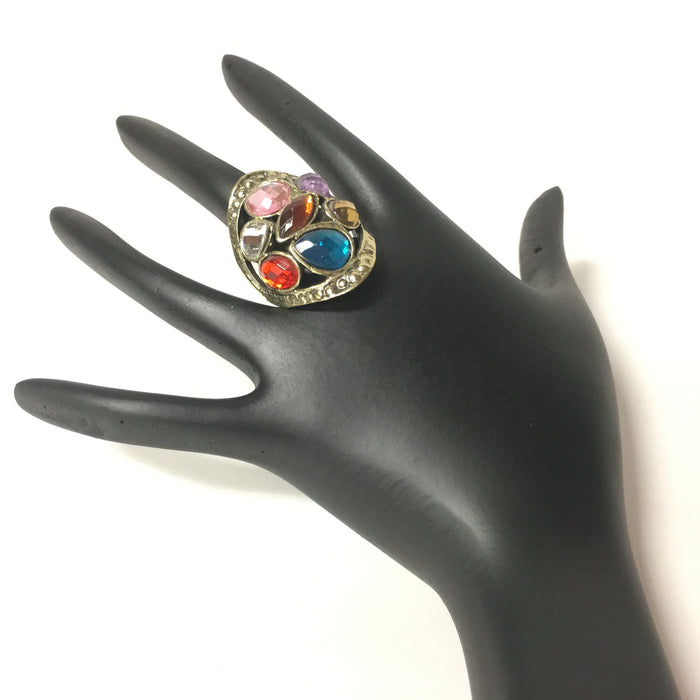 Antique Multi Color Stones Golden Finish  Ring