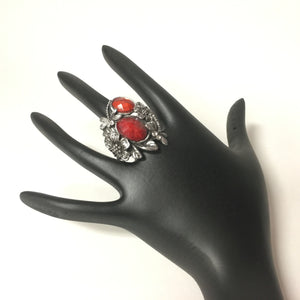 Antique Look Red Stone Oxidized Ring - Sarang