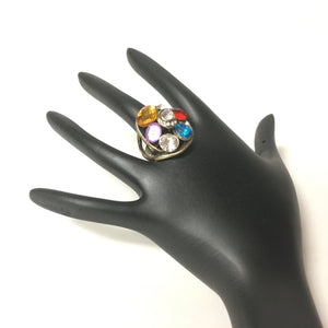 Silver Finish ring with Multi Color Stones - Sarang