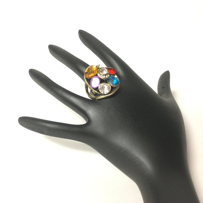 Silver Finish ring with Multi Color Stones
