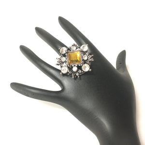 Antique look Oxidized Ring with White and Chocolate Stones - Sarang