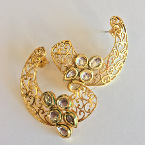 Golden and white American stone studded ear cuffs - 2