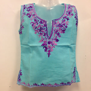 Kashmiri Embroidered Short Cotton Girls Top - 1
