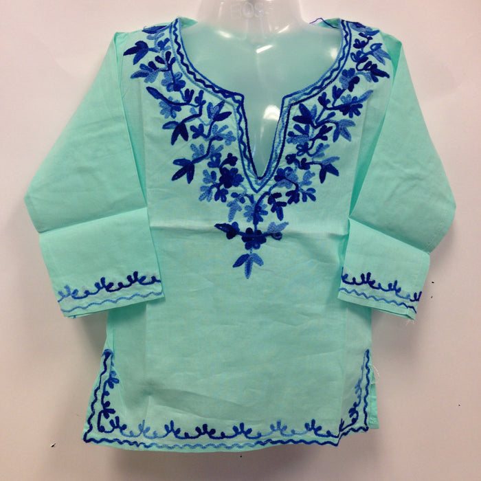 Kashmiri Embroidered Short Cotton Girls Top -